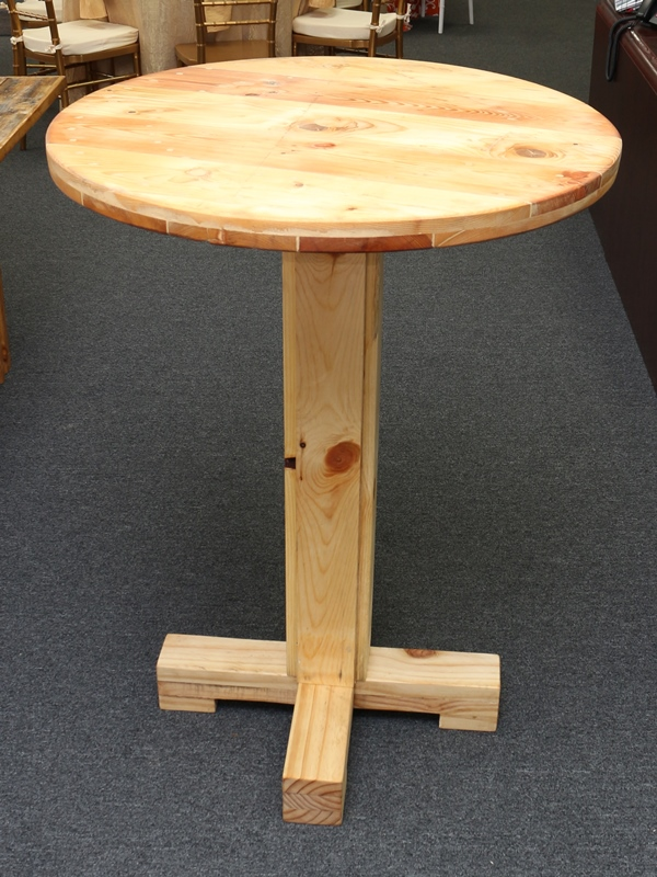 Table Farmhouse 30 Inch High Top Natural Rentals