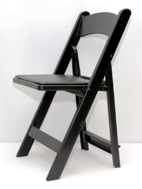 Where to rent CHAIR, FOLDING PADDED RESIN - BLACK in Cherry Hill NJ, Philadelphia, Haddonfield NJ, Marlton NJ, Moorestown New Jersey